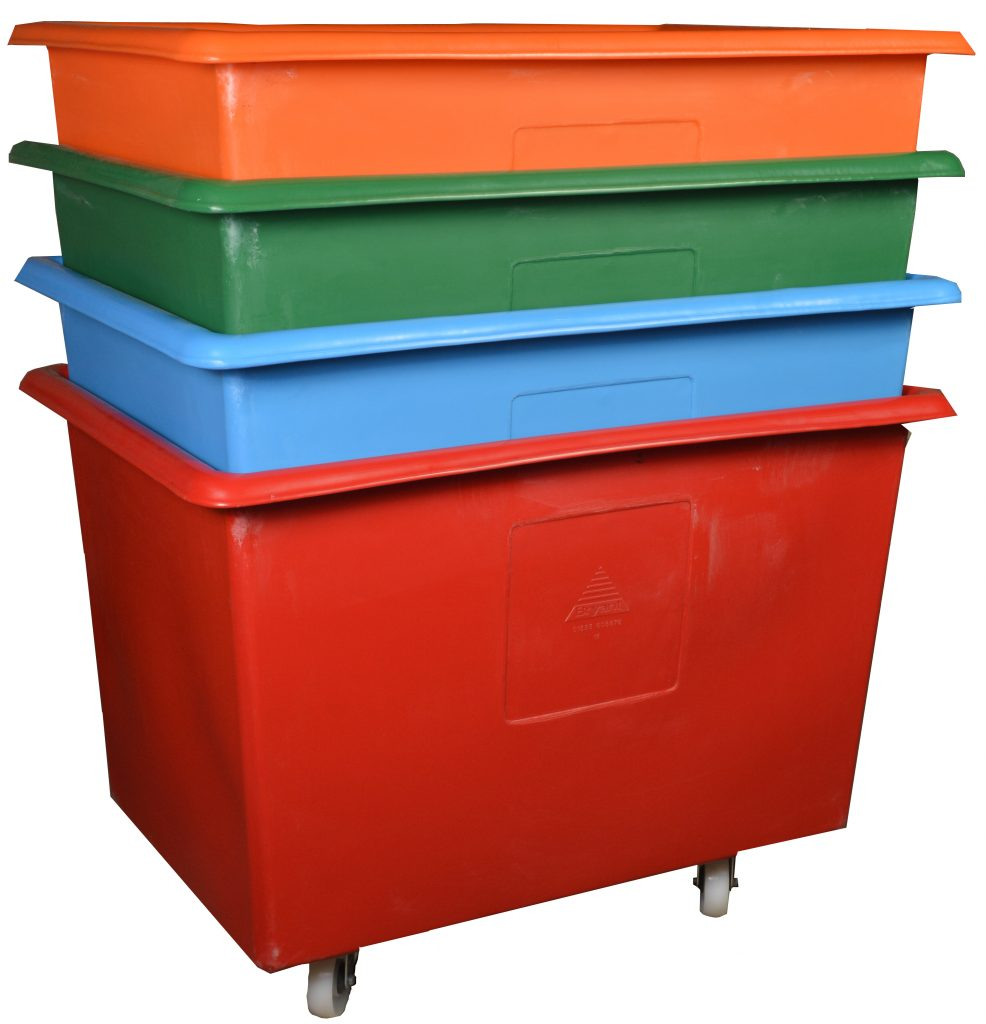 Bryant tapered plastic industrial Container Trucks are stackable