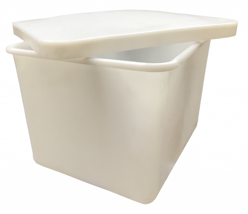 Heavy duty plastic containers with lids