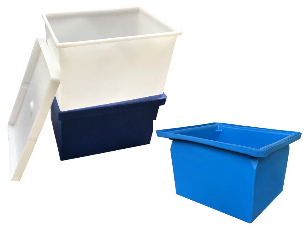 Heavy duty plastic boxes with or without lids